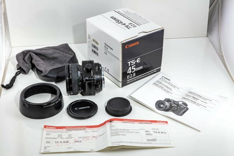 Canon TS-E 45mm f/2.8 Tilt Shift Lens w/Hood, Case, Instruction manual and Box