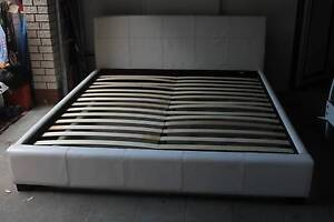 King Size White Leather Bed, Genuine leather excelent condition Bridgeman Downs Brisbane North East Preview