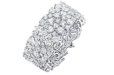 -  CRISLU CLUSTER ETERNITY BAND STERLING SILVER PLATINUM CZ -NEW IN BOX-4.39CT-7