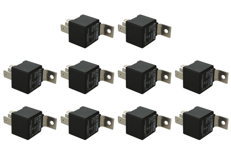 10 LOT TEMCo INDUSTRIAL 12 V 60/80 Amp Bosch Style S Relay SPDT Automotive