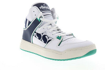 Ellesse Assist HI 610347 Mens White Leather Lace Up High Top Sneakers Shoes