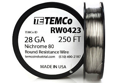 Temco Nichrome 80 Series Wire 28 Gauge 250 Ft Resistance Awg Ga