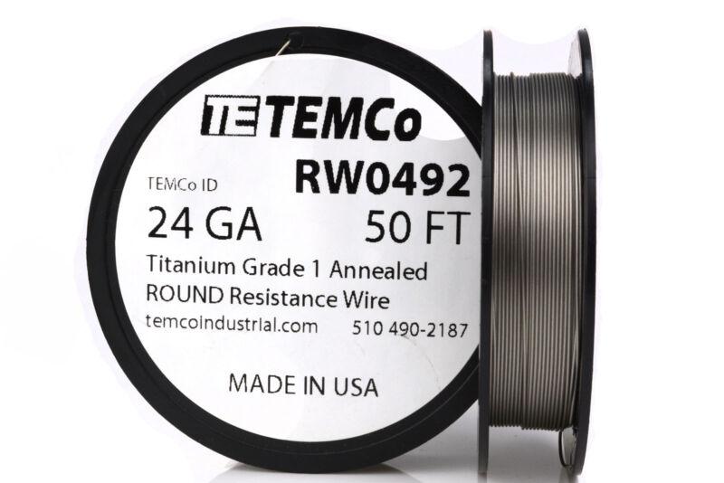 TEMCo Titanium Wire 24 Gauge 50 FT Surgical Grade 1 Resistance AWG ga