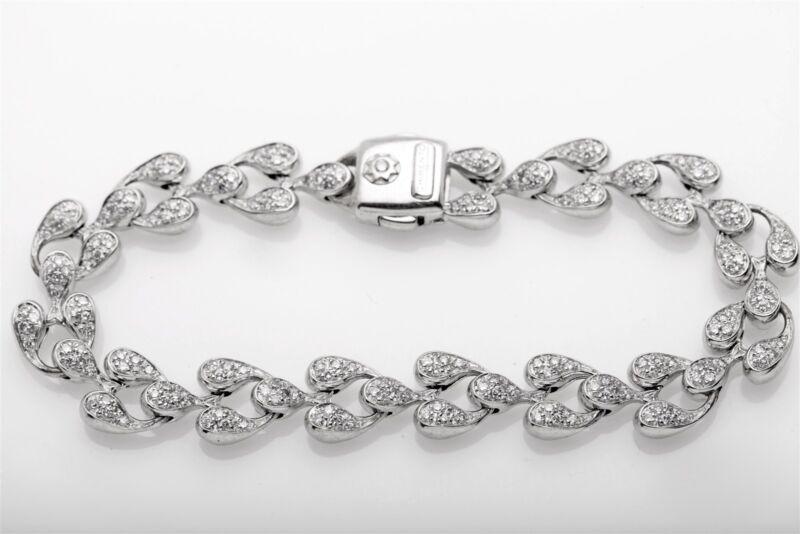 Signed $12,000 Chimento 4ct Vs G Diamond 18k White Gold Bracelet 27g