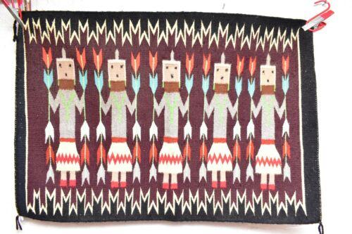 ANTIQUE Navajo Rug native american indian weaving VTG 32x22 Yei Pictorial corn