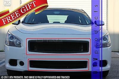 GTG Black 2PC Replacement Mesh Grille Grill Kit fits 2009 - 2014 Nissan Maxima