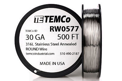 Temco Stainless Steel Wire Ss 316l - 30 Gauge 500 Ft Non-resistance Awg Ga