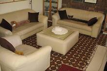 Leather lounge suite, cream, with matching glass-top coffee table Hillarys Joondalup Area Preview