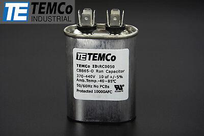 Temco 10 Mfd Uf Run Capacitor 370440 Vac Volts Ac Motor Hvac 10 Uf