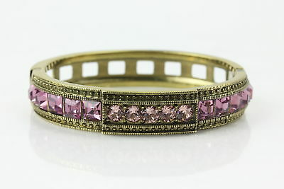 "Heidi Daus ""Tantalizing"" Pink Faux Pearl Crystal-Accented Bracelet Size 7"
