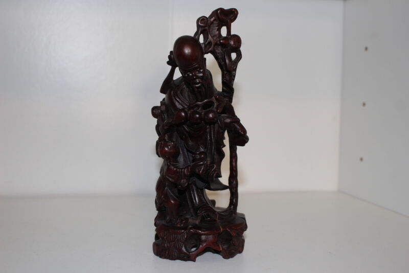ANTIQUE CHINESE CARVED WOOD FIGURINE-OLD MAN/IMMORTAL W/CHILD