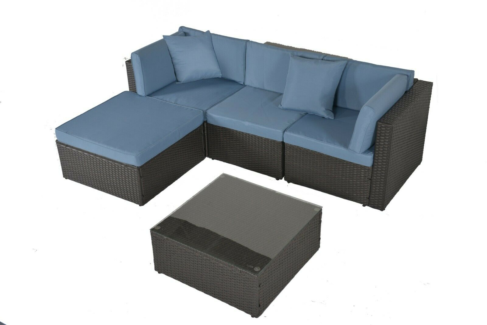Garden Furniture - Outdoor Patio Furniture Rattan Wicker Sofa Set Garden Sectional Sofa Cushioned