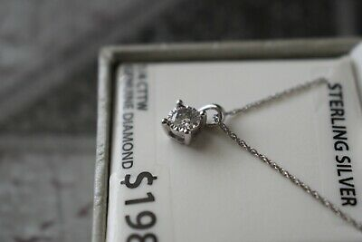 NEW 1/4 Carat Diamond Solitaire Necklace Pendant w 18 Inch Sterling Silver Chain