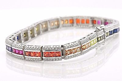Sterling Silver Triple Row Rainbow MultiColor Lab Sapphire Tennis 7-in Bracelet