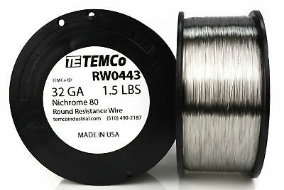 Temco Nichrome 80 Series Wire 32 Gauge 1.5 Lb 8194.5ft Resistance Awg Ga