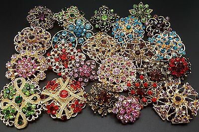 (Lot 24 pc Mixed Vintage Style Golden Rhinestone Crystal Brooch Pin DIY Bouquet )