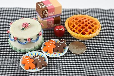 Dessert LOT Cake Pie Miniature Food Dollhouse Accessories Barbie Doll 1/6 Scale
