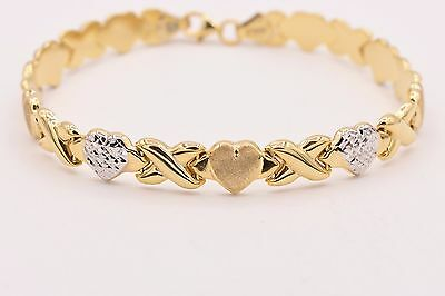 "7.5"" Hearts & Kisses Bracelet 14K Yellow White Two-Tone Gold Clad Silver 925"