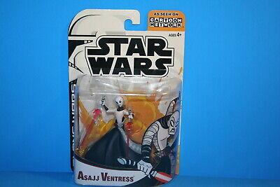 STAR WARS 03 THE CLONE WARS MINT ON CARD ASAJJ VENTRESS FIGURE WEAPON (Star Wars The Clone Wars Asajj Ventress)