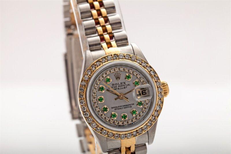 $12,000 2ct Emerald Diamond 18k Gold Ss Qs Ladies Datejust Rolex Watch Box & Wty