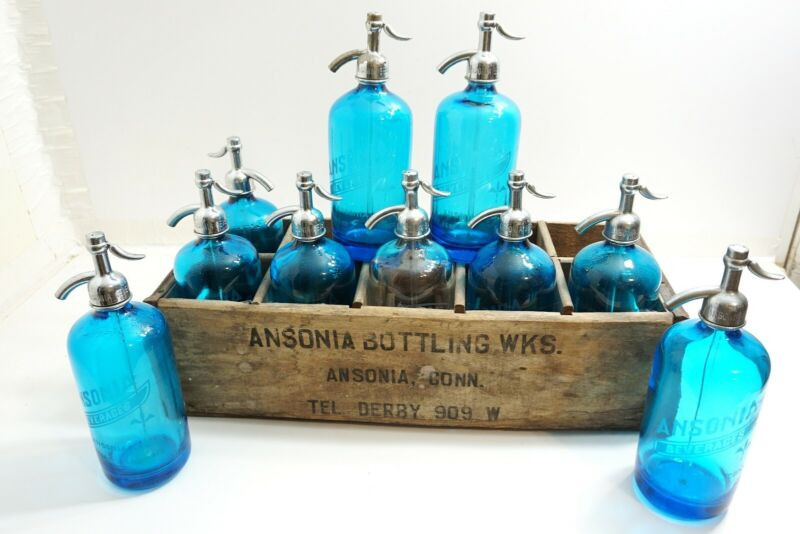VINTAGE SET OF 10 ANSONIA SELTZER BOTTLES + WOODEN CRATE ALL BLUE WITH 1 CLEAR