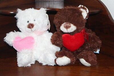 VALENTINE'S DAY PLUSH TEDDY BEARS, White or Brown Stuffed Animal Doll, Love Toy