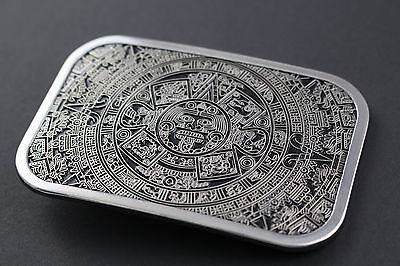 RECTANGULAR  AZTEC CALENDAR BELT BUCKLE MAYAN MEXICO METAL TRIBAL