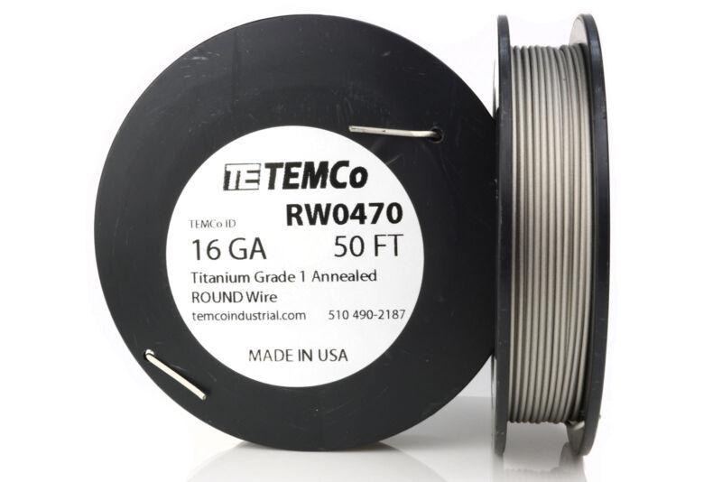 TEMCo Titanium Wire 16 Gauge 50 Ft Surgical Grade 1 Resistance AWG ga