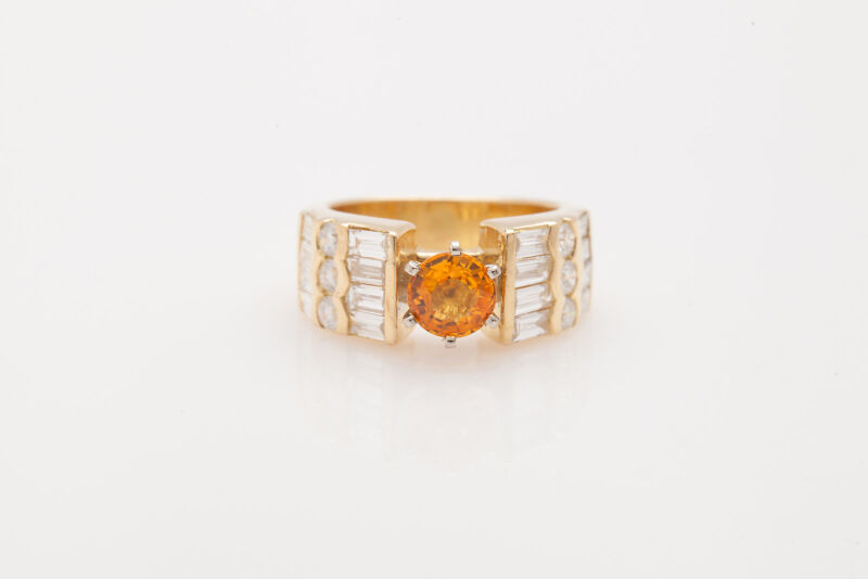 Estate $9000 3.50ct Natural Padparadscha Sapphire Diamond 18k Gold Band Ring
