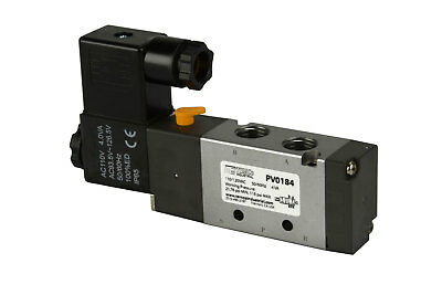 New 110v Ac Solenoid Pneumatic Control Valve 5 Port 4 Way 2 Position 14 Npt
