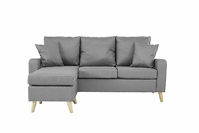 Modern Fabric Small Space Sectional Sofa w/ Reversible Chais