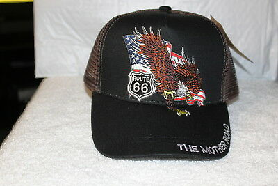 - ROUTE 66 EAGLE AMERICAN FLAG MOTHER ROAD MESH BACK SNAPBACK BASEBALL CAP HAT BLK
