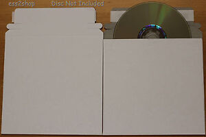 100 CD/DVD White Cardboard Mailers Self Seal (5.25 x 5.25)