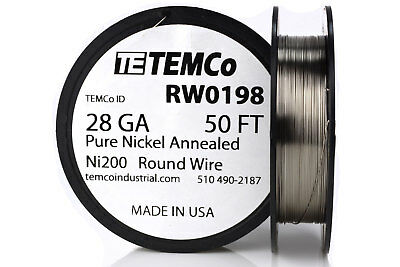 Temco Pure Nickel Wire 28 Gauge 50 Ft Non Resistance Awg Ni200 Nickel 200ga