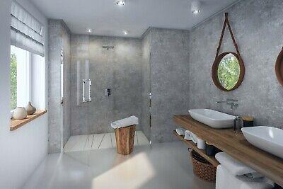 Concrete Grey Matt 8mm Bathroom Wall Panels Shower Wet Wall PVC Cladding Ceiling