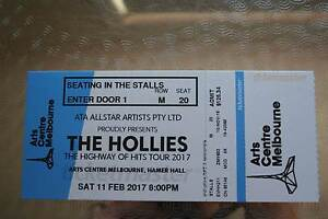 THE HOLLIES SAT 11 FEB ART CENTRE MELB HAMER HALL STALL TICKET Woodend Macedon Ranges Preview