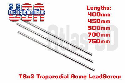T8 2 Lead Acme Threaded Rod Lead Screw W Brass Nut 400mm 450mm 500mm 750mm