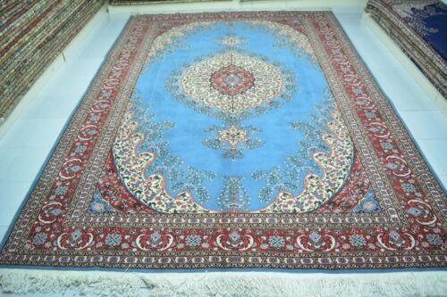 Turquoise Rug 8x11Old Large Handmade Turkish Wool Rug, Vintage Floral Area Rug