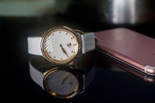 Damenuhr Armbanduhr Leder Rund Uhr Quarz Großes Edelstahlgehäuse Wasserdicht