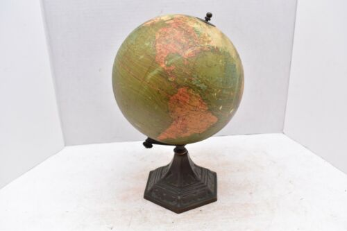 "8"" Antique  A.J. Nystrom W. & A.K. Johnson Terrestrial World Globe Early 1920"