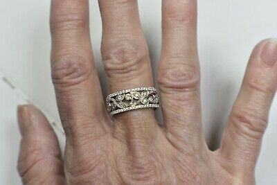 Neil Lane Engraved 1ct Diamond Pave 8mm Wide Gold Wedding Anniversary Band Ring