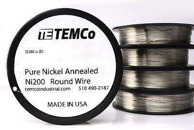 Temco Pure Nickel Wire 26 Gauge 250 Ft Non Resistance Awg Ni200 Nickel 200ga