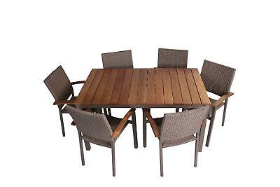 Gartenmöbel Set Alu Gartentisch Rattanstuhl Gartengarnitur 7 Teilig Beige/Braun