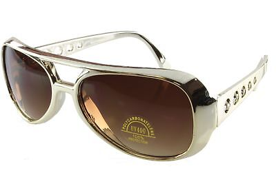 Sunglasses Retro Style Aviator EP King Elvis Glasses Costume Gold Brown