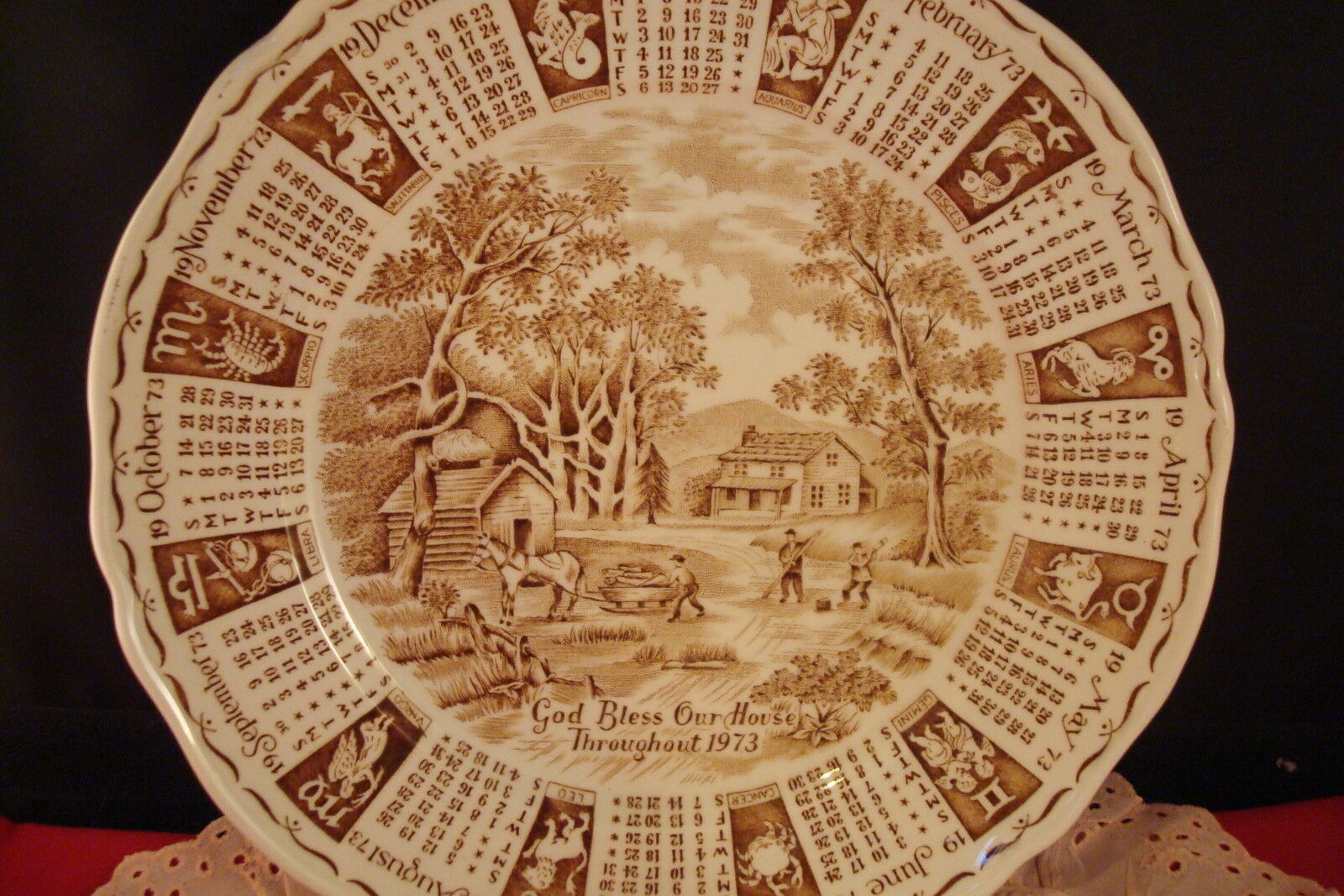 Calendar Plate 1973 Made In England By Alfred Meakin 9 Ebay