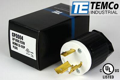 Temco Nema L6-30p Male Plug 30a 250v Locking Ul Listed For Generator Rv Welder