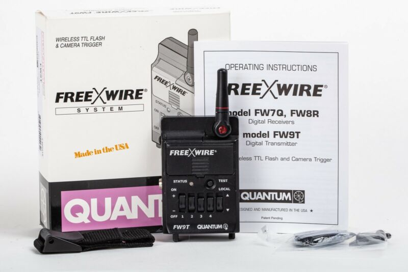 Quantum FreeXWire FW9T Radio Flash Transmitter with manual, hardware, box