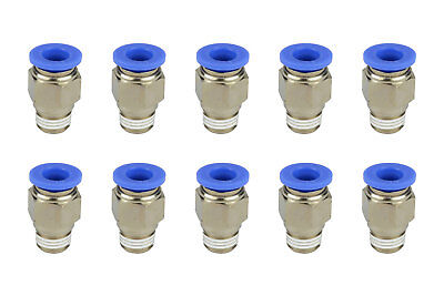 10x Temco Pneumatic Air Quick Push To Connect Fitting 14 Npt To 38 Hose Od