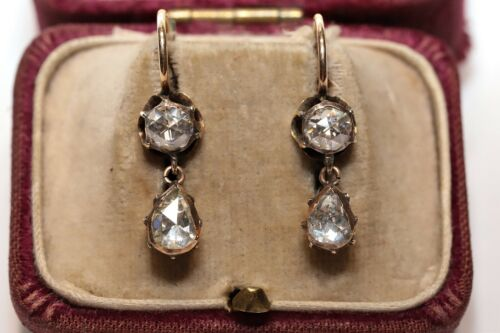 ANTIQUE OTTOMAN 14K GOLD NATURAL ROSE CUT DIAMOND DECORATED EARRING