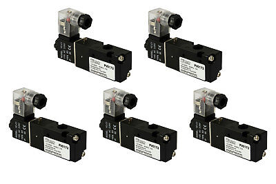 5x 110v Ac Solenoid Air Pneumatic Control Valve 3 Port 3 Way 2 Position 18 Npt